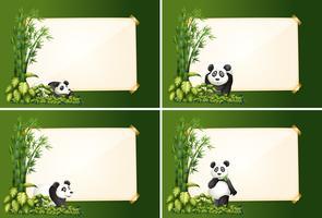 Cuatro plantillas de borde con panda y bambú.
