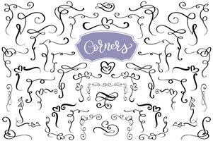 Hand drawn swirl and flourish love corners in the shape of a heart. Calligraphic design elements. Vintage Vector Illustration