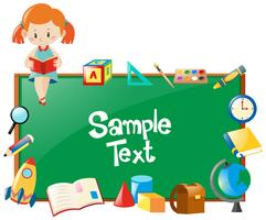 Frame design with girl reading book and school objects vector
