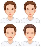 Woman with different facial skin