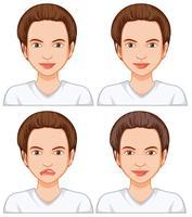Femme avec peau du visage différente