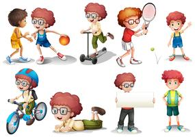 Boy with curly hair in diffrent actions