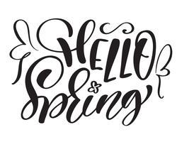 Vector de texto dibujado a mano Hola primavera motivacional e inspiracional estación cita. Tarjeta caligráfica, taza, superposiciones de fotos, estampado de camisetas, folleto, diseño de carteles