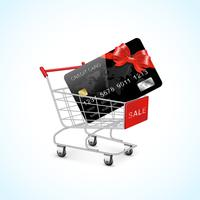 shopping cart with credit card and bow