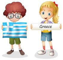 Chico y chica con bandera de grecia