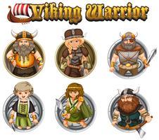 Guerreros vikingos en insignias redondas.