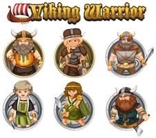 Guerriers viking sur des badges ronds