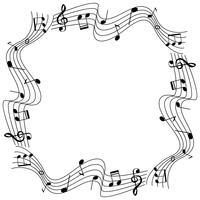Plantilla de borde con notas musicales en escala