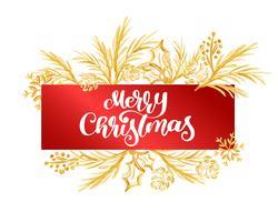 Text Glad jul på en röd etikett på bakgrunden av en guldgren. Handskrivning kalligrafisk jultypaffisch