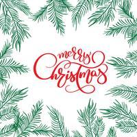 Testo di iscrizione di calligrafia di buon Natale e cornice con rami di abete. Illustrazione vettoriale