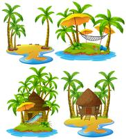 Four islands with wooden hut and coconut trees