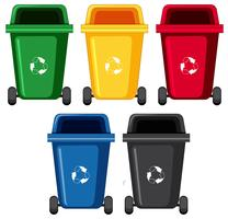 Rubbish bins in five different colors vector