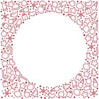Jul nyår banner illustration. Vektorlinje ikon för vinterlov, gåva, santa claus, brev, presenter, krans. Celebration party cirkel mall med plats för text