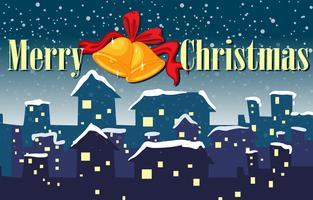 En jultecknad som visar en by