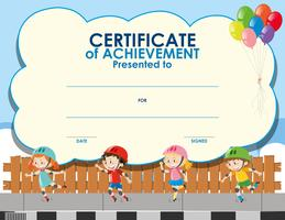 Certificate template with kids skating