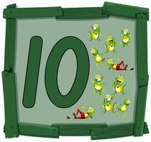 Ten frog on wooden banner