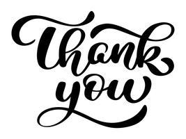 tekst Dank u handgeschreven kalligrafie letters. handgemaakte vectorillustratie. Leuke penseelinkt typografie voor foto-overlays, t-shirt print, flyer, posterontwerp