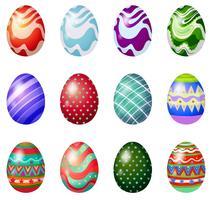 Una docena de huevos de pascua pintados.