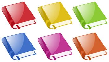 Libros en seis colores diferentes.