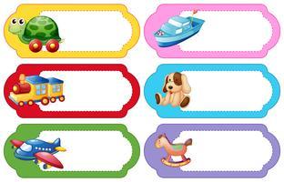 Etikettendesign mit verschiedenen Spielsachen