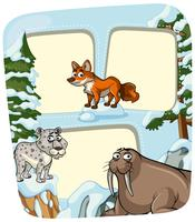 Border template with animals in winter vector