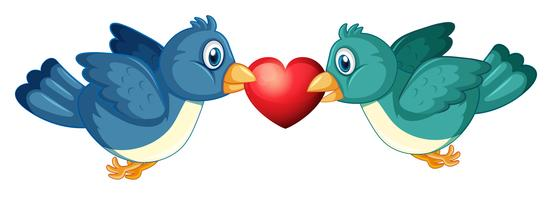 Two blue birds and heart
