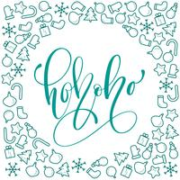 Ho-Ho-Ho Christmas calligraphy vector greeting card with modern brush lettering. Banner for winter season greetings
