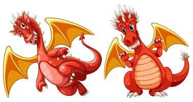 Red dragon with wings