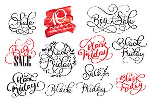 Satz von Black Friday Calligraphic Design Retro Style Elements. Weinlese verziert Verkaufs-Vektorillustration