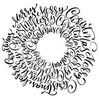 textes joyeux Noël écrits à la main dans une inscription de calligraphie de cercle. illustration vectorielle à la main. Typographie encre amusante à la brosse pour superpositions de photos, impression de t-shirt, flyer, affiche