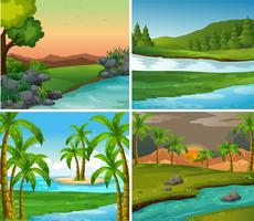 Vier Hintergrundszenen von Flüssen und Feldern