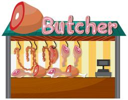 A Butcher Shop on White Background