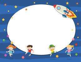 Plantilla de borde con niños en el espacio.