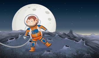 Un mono astronauta en el espacio.