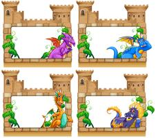 Frame design with dragon and castle