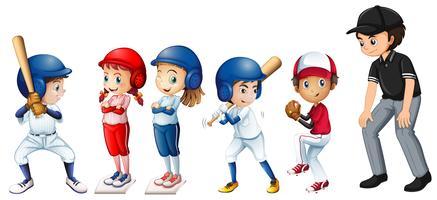 Conjunto de crianças de beisebol