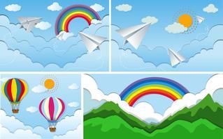 Quatro cenas do céu com arco-íris e sol