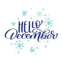 Weihnachtstext hallo Dezember auf Hintergrund von Schneeflocken. Vektor-Illustration Print Design