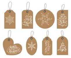 Vector Christmas labels tags collection with snowflakes, fir-tree, text Let is snow, holly jolly, merry christmas. Holiday decoration elements with doodle flourish vintage cartoon characters