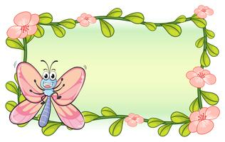 Un papillon et un cadre de plantes à fleurs