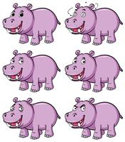 Hippo in six different emotions vector