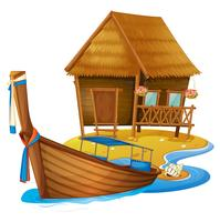 Wooden cottage and boat on island