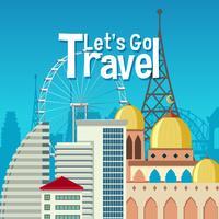 Urban landmark travel theme