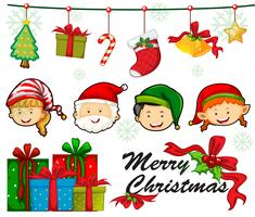 Plantilla de tarjeta de Navidad con personas y adornos