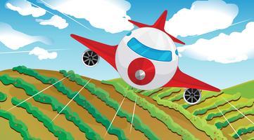 En flygande flygplans och ett vackert landskap