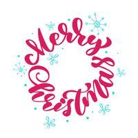 Mano de feliz Navidad texto escrito caligrafía letras redondas. Ilustración vectorial hecha a mano Tipografía divertida de tinta de pincel para superposiciones de fotos, impresión de camisetas, taza, almohada, folleto, diseño de carteles