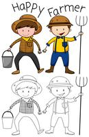 Doodle personagem de agricultor feliz
