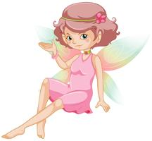 cute fairy with pink dress and colorful wings