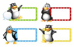 Quadratische Etiketten mit niedlichen Pinguinen