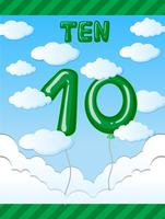 Number ten balloon on sky